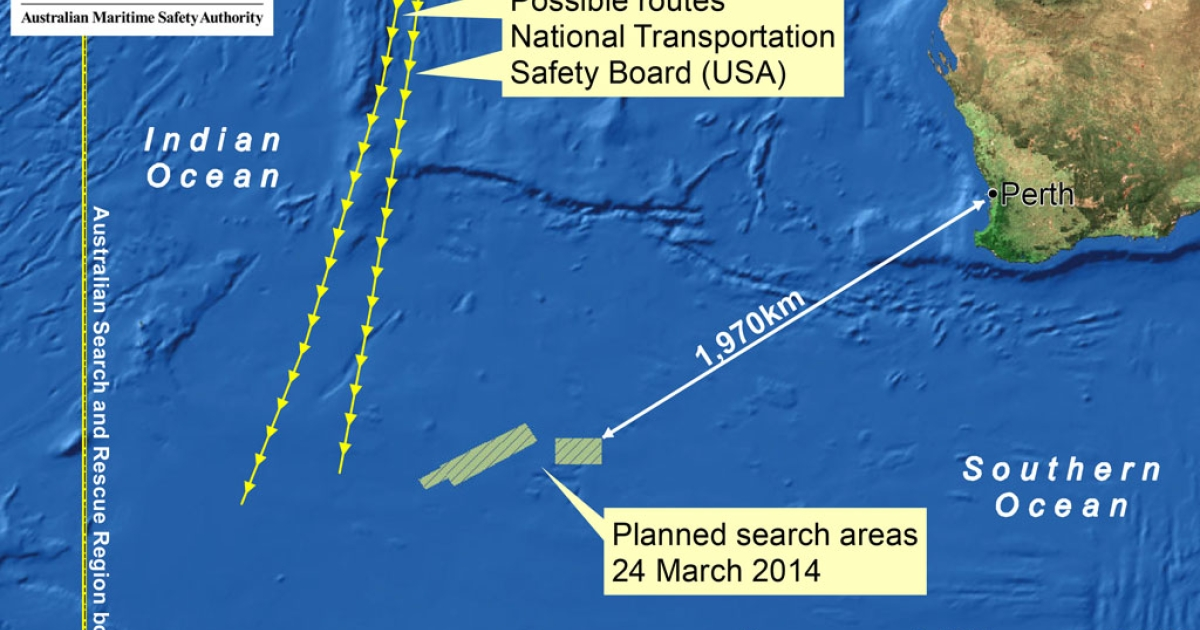 This handout Satellite image made available by the AMSA (Australian Maritime Safety Authority) shows a map of the planned search area for missing Malaysian Airlines Flight MH370 on March 24, 2014.</p>