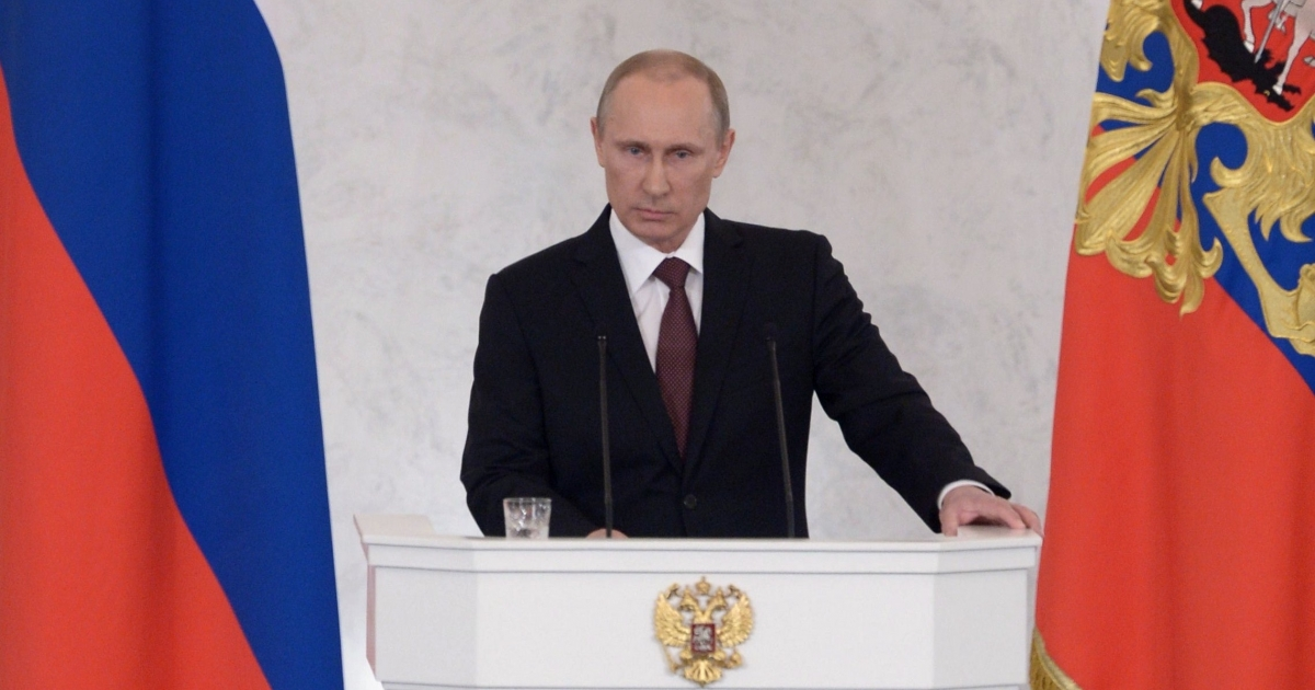 More than saber rattling: Putin addressing parliament in the Kremlin on Tuesday.</p>