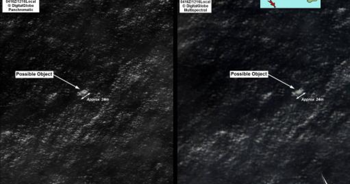 Satellite imagery provided to Australian Maritime Safety Authority (AMSA) of objects that may be possible debris of the missing Malaysia Airlines Flight MH370 in a revised area 185 km (115 miles) to the south east of the original search area in this picture released by AMSA March 20, 2014.</p>