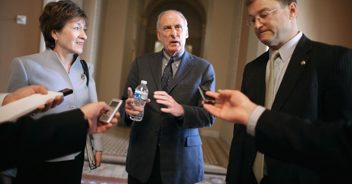 Sen. Susan Collins (R-Maine), left, Sen. Dan Coats (R-Ind.) and Sen. Dean Heller (R-Nev.) talk with reporters Jan. 13, 2014 in Washington, DC.</p>