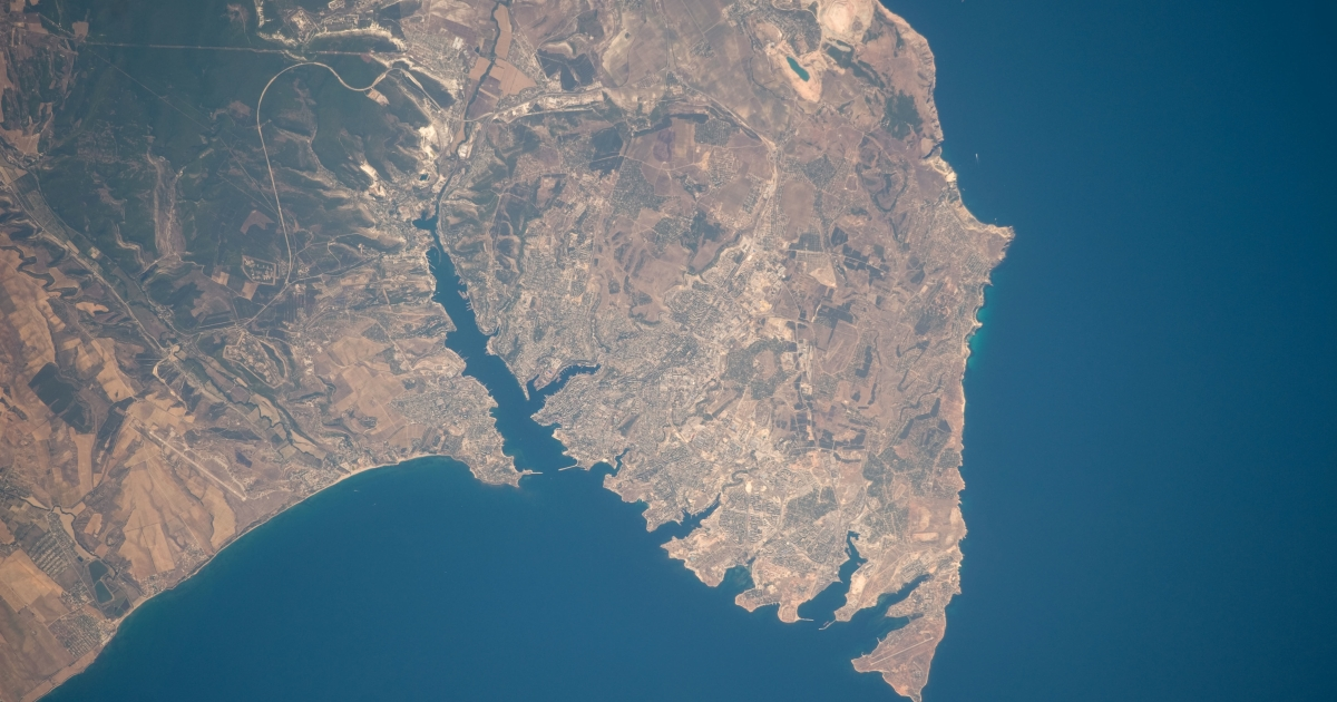 Sevastopol, Ukraine is featured in this image photographed by an Expedition 20 crew member on the International Space Station. The port city of Sevastopol is located in southernmost Ukraine on the Crimean Peninsula.</p>