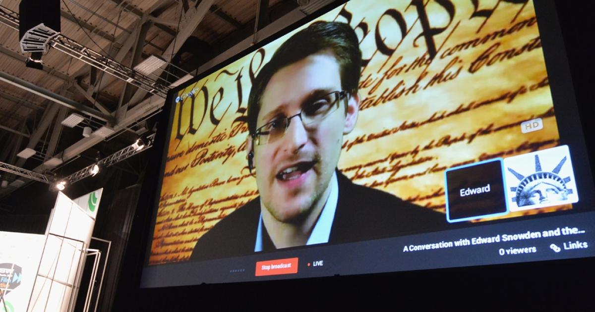 NSA whistleblower Edward Snowden speaks via videoconference at the