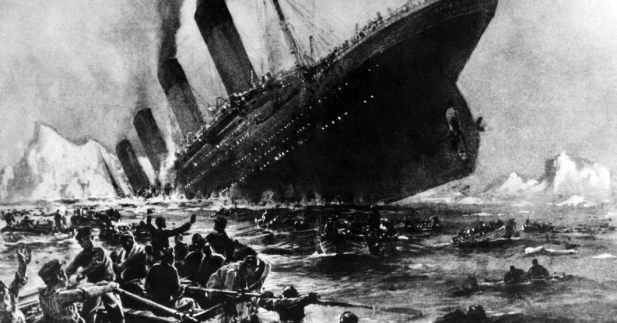 Undated artist impression showing the April 14, 1912 shipwreck of the British luxury passenger liner Titanic off the Nova-Scotia coast.</p>