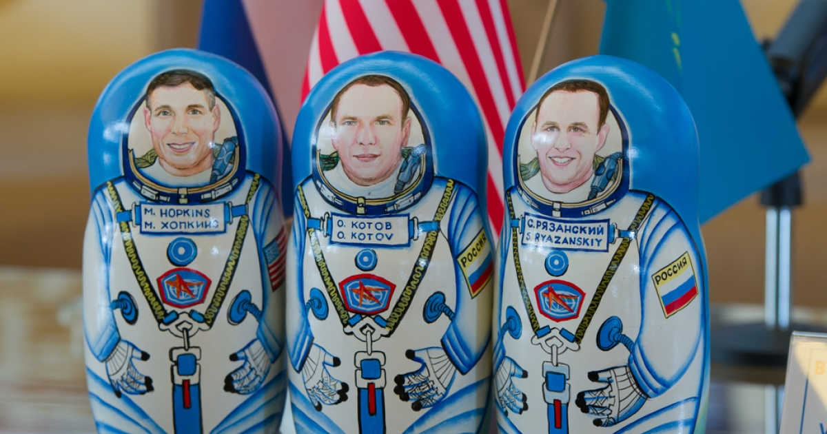 March 11, 2014: A set of matryoshka dolls depicting the Expedition 38 crew, Flight Engineer Mike Hopkins of NASA, left, Commander Oleg Kotov of Russian Federal Space Agency, Roscosmos, center, and Flight Engineer Sergey Ryazanskiy are seen at a welcoming ceremony held at the Karaganda airport in Kazakhstan. The crew of three landed in their Soyuz TMA-10M spacecraft a few hours earlier near the town of Zhezkazgan, Kazakhstan after spending five and a half months onboard the International Space Station where they served as members of the Expedition 37 and 38 crews.</p>