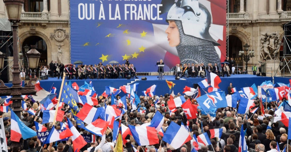 A National Front rallying cry: 'No to Brussels, yes to France,' complete with Joan of Arc poster.</p>