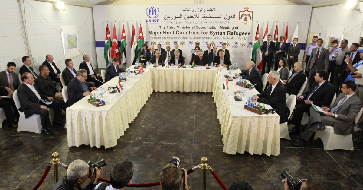 Foreign senior diplomats and officials attend a meeting on May 4, 2014 at northern Jordan's Zaatari refugee camp.</p>