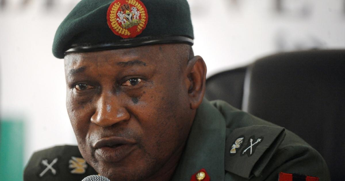 Nigerian defense spokesman Major-General Chris Olukolade in Abuja, May 9, 2014.</p>