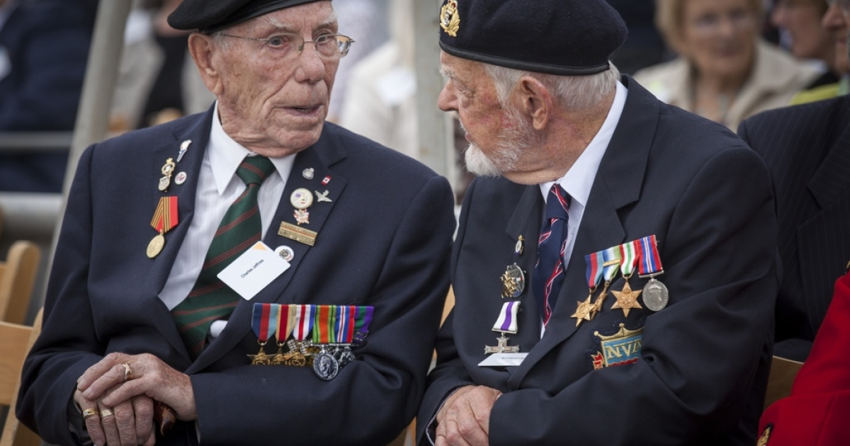 Veterans Charles Jeffries and Richard Llewellyn aboard the HMS Belfast for the 70th anniversary D-Day commemorations on May 20, 2014 in London, England.</p>