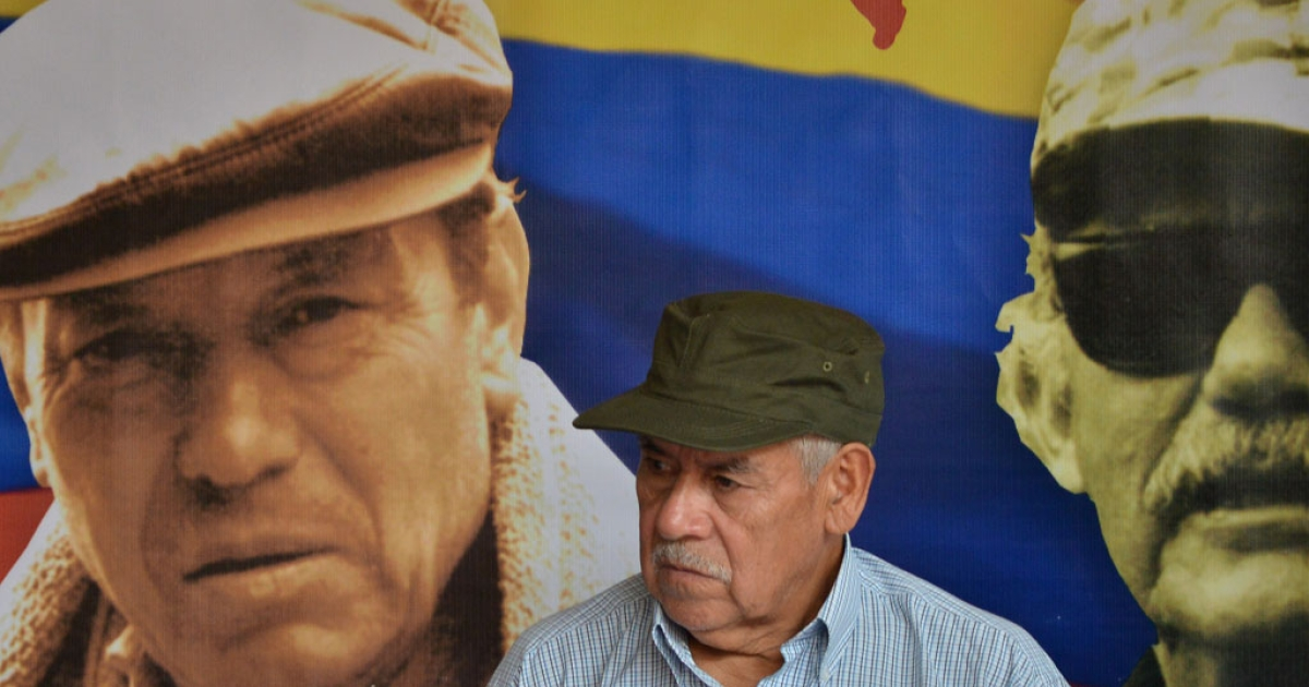 The co-founder of the Revolutionary Armed Forces of Colombia (FARC), commander Miguel Pascuas, attends a press conference in Havana on May 27, 2014, on the 50th anniversary of the guerrilla group's founding.</p>