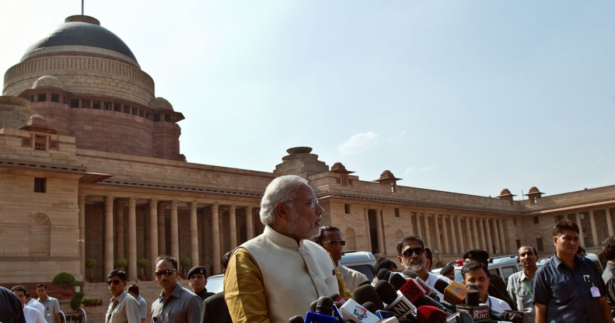 India's prime minister-elect Narendra Modi addresses the media after his meeting with President Pranab Mukherjee at the Presidential Palace in New Delhi on May 20, 2014.</p>