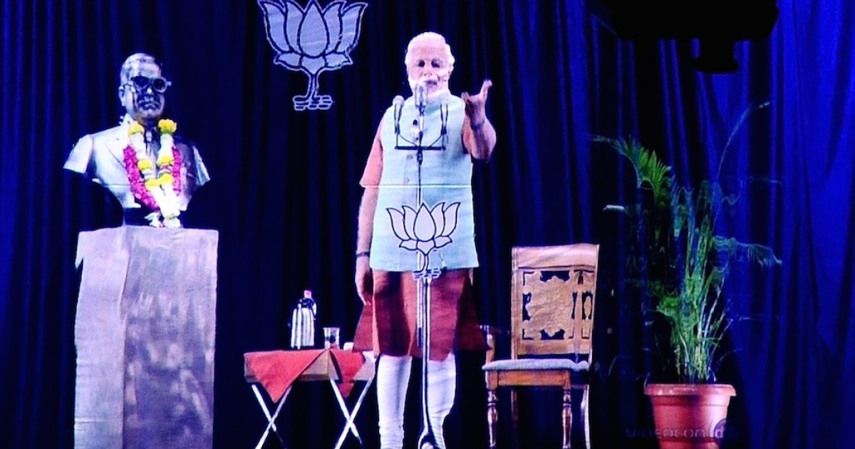 Indian frontrunner Narendra Modi raised enough money to address campaign rallies via hologram.</p>