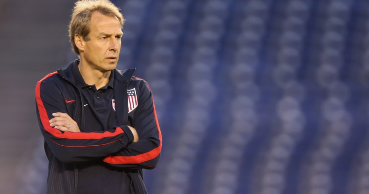 USA head coach Jurgen Klinsmann looks on prior to the start of the game against Guatemala at Qualcomm Stadium on July 5, 2013 in San Diego, California.</p>