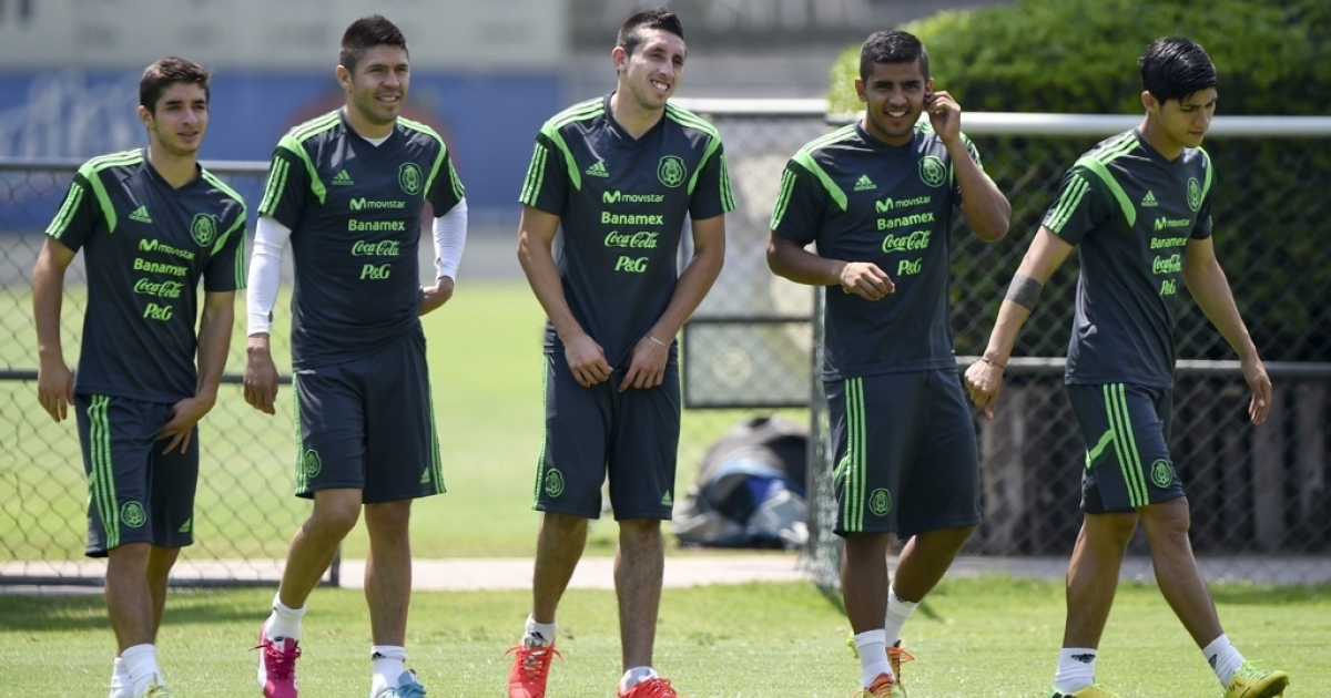 Mexico's national soccer team members during a training at the capital's High Performance Center.</p>