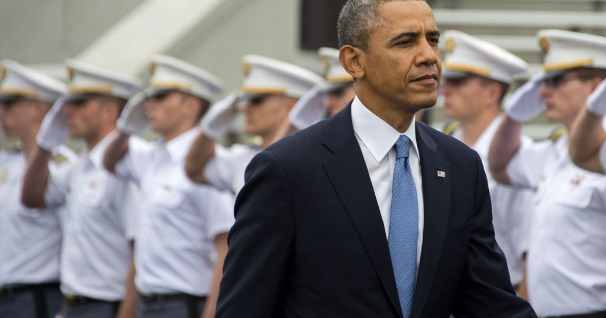 US President Barack Obama arrives at the United States Military Academy at West Point, New York to deliver the commencement address to the 2014 graduating class on May 28, 2014.</p>