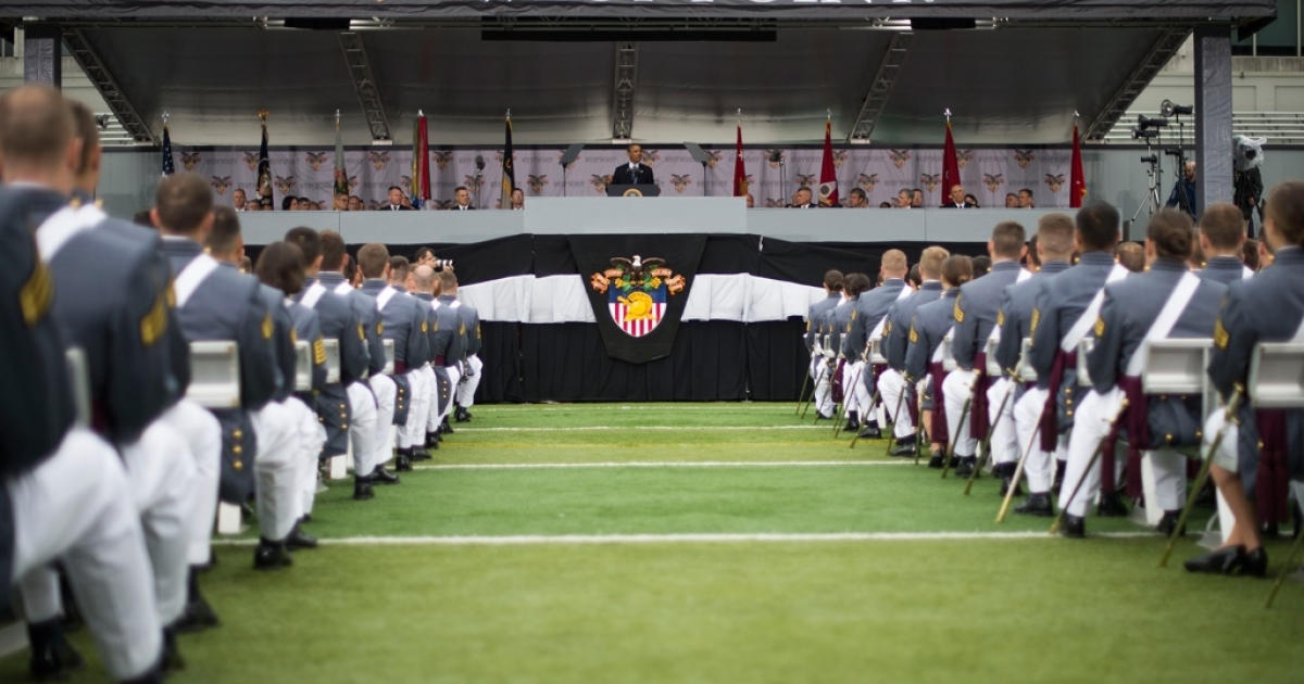 US President Barack Obama delivers the commencement address to the 2014 graduating class at the United States Military Academy at West Point, New York, May 28.</p>