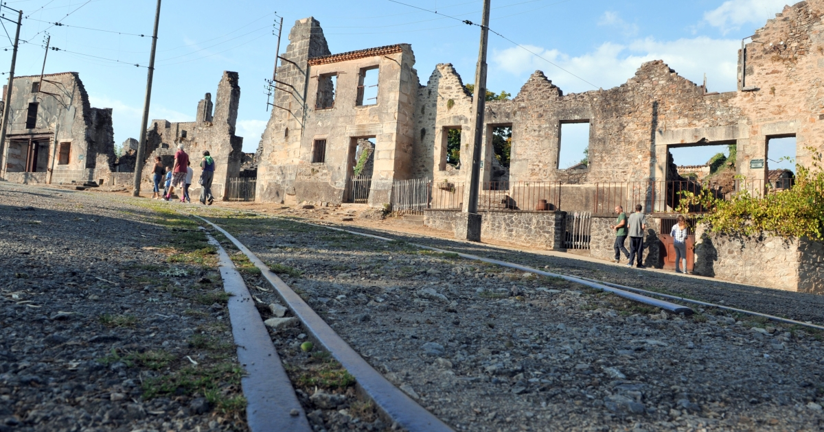 Oradour-sur-Glane, where 500 women and children were killed locked up in a church intentionally set on fire by a SS division in 1944. Now it's a tourist draw.</p>