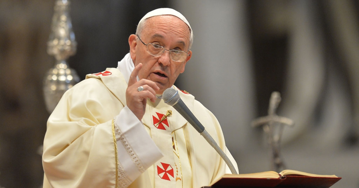 Pope Francis speaks during the ordination of new priests at St. Peter's basilica on May 11, 2014 at the Vatican.</p>