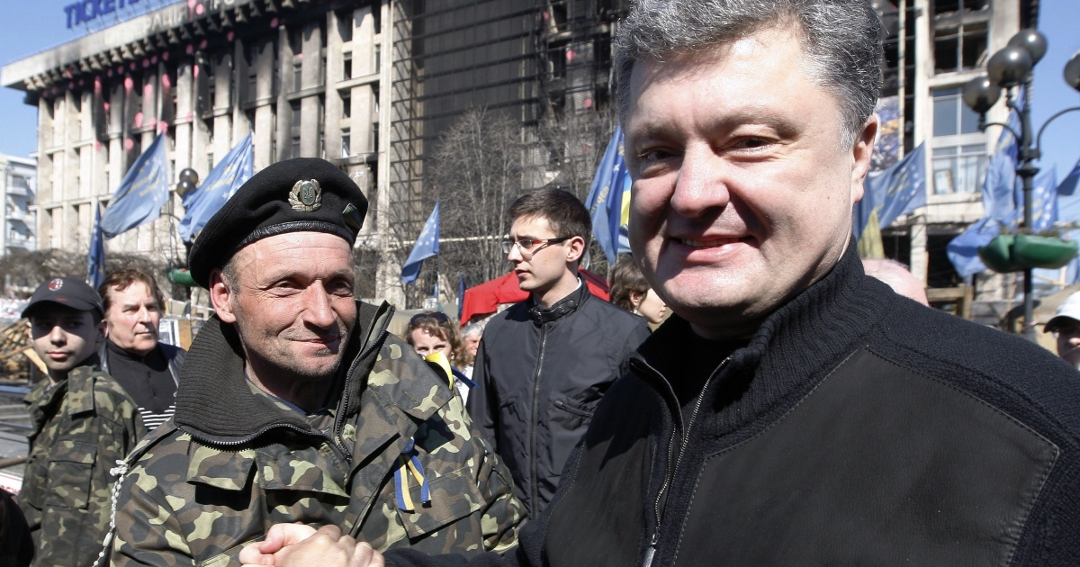 Poroshenko campaigns on Kyiv's Independence Square.</p>