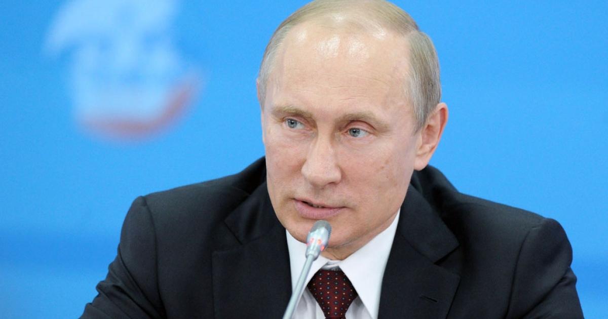 Russia's President Vladimir Putin speaks at the St. Petersburg International Economic Forum 2014 on May 24, 2014.</p>