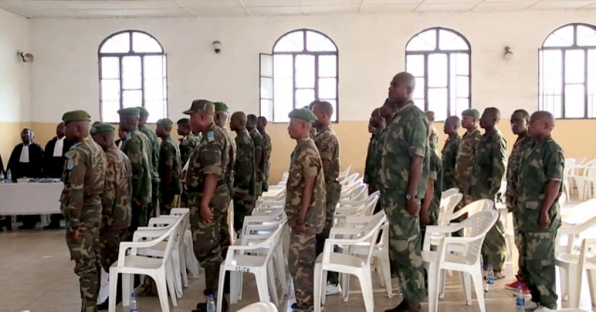 Just two of 39 Congolese soldiers — pictured here during their trial — were convicted of rape and sentenced to life in prison on Monday afternoon when a Goma courtroom handed down the verdict in the Minova trial, the largest rape tribunal in the history of the Democratic Republic of Congo.</p>