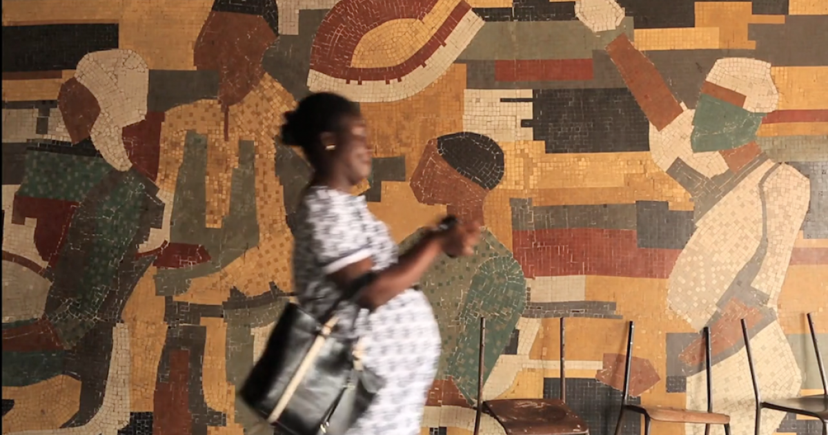 A still image from Allison Shelley's video report on abortion in Nigeria shows a pregnant Nigeria woman leaving a clinic.</p>