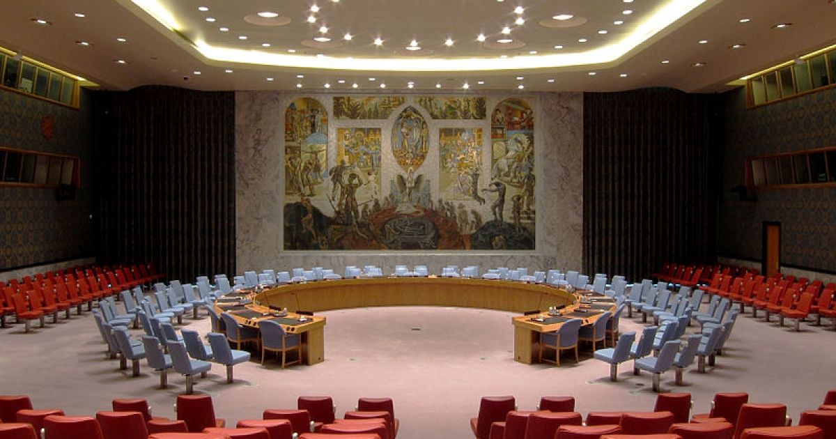 The United Nations Security Council meeting room in the UN headquarters in New York City.</p>