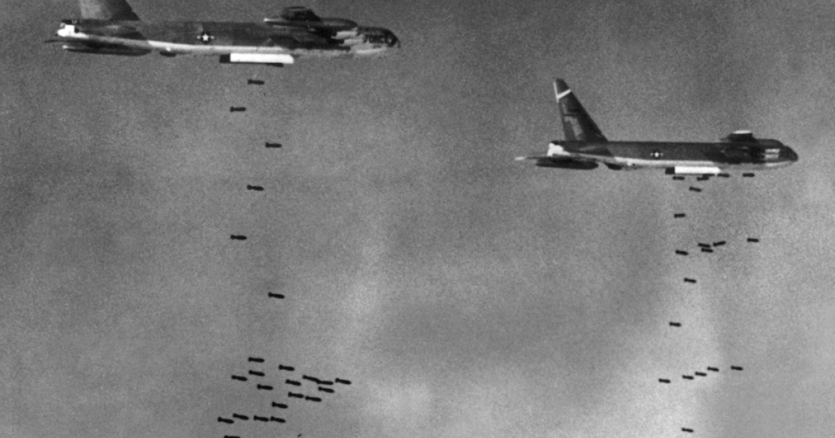 US B52 drop bombs over a Viet Cong controlled area in South Vietnam 02 August 1965 during the Vietnam War.</p>