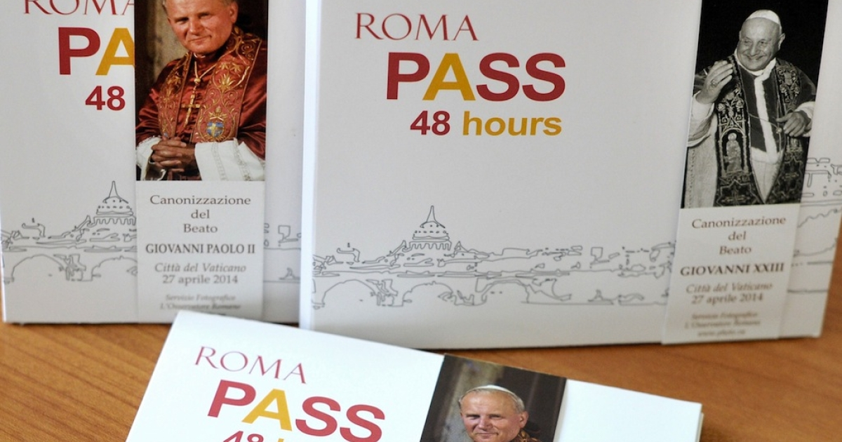 The special edition of a tourist card allowing access to monuments, museums and archaeological sites to be used this weekend when Popes John Paul II and John XXIII will be made saints at an unprecedented joint ceremony on April 27, 2014. The canonizations of two popular popes are set to bring hundreds of thousands of pilgrims to Rome.</p>
