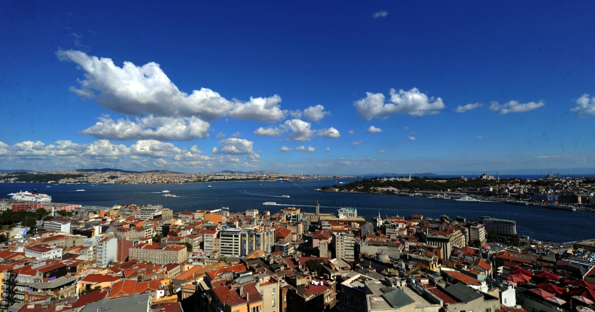 The Bosphorus river is pictured from the Galata Tower in Istanbul.</p>