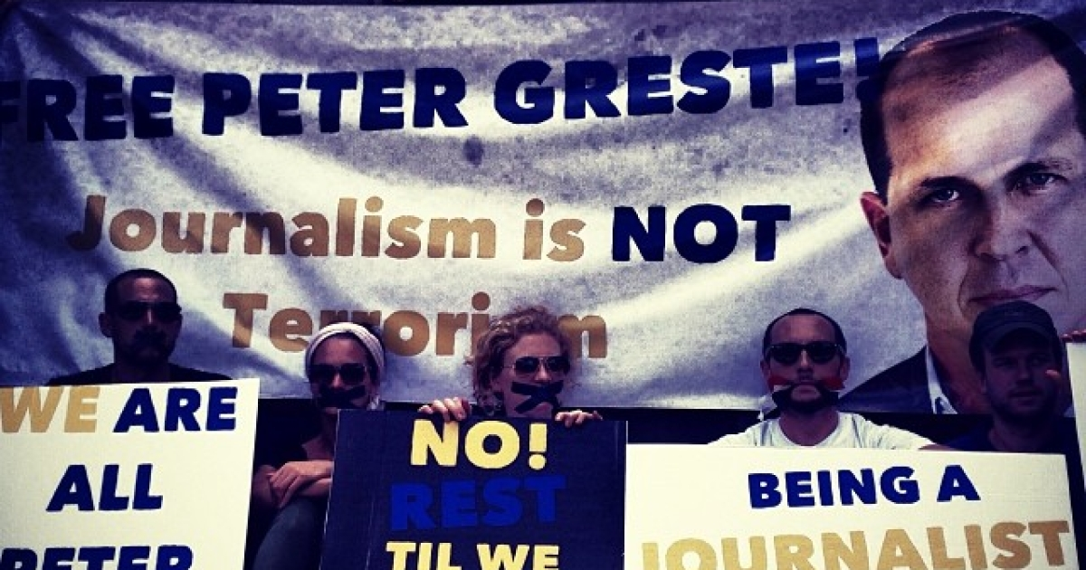 Protesters at the demonstration over journalist's Peter Greste's detainment, outside the Egyptian embassy in Nairobi.</p>