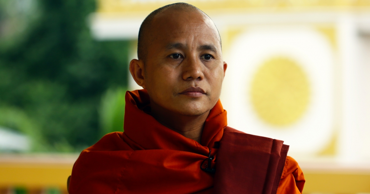 "Ashin Wirathu, leader of the ""969"" movement, explains the ideology of the movement in Masoeyein Taik Thit Monastery in Mandalay, Myanmar in June 2013.</p>"