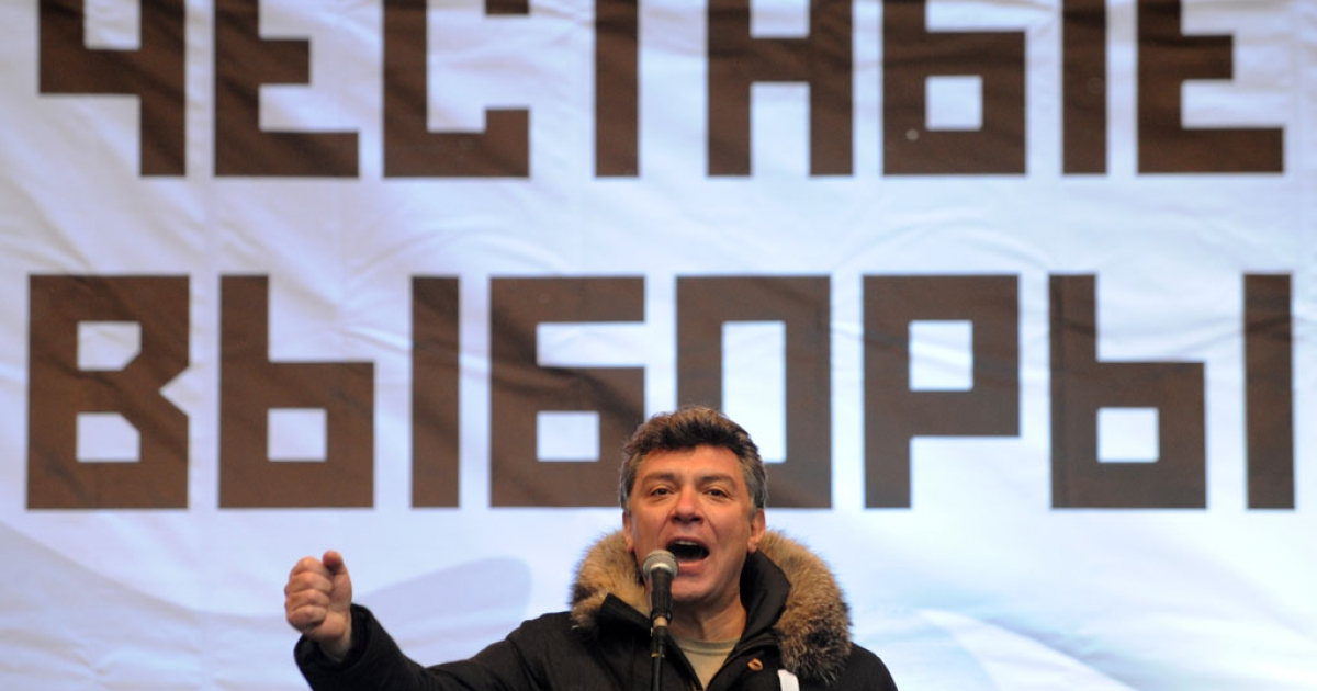 Liberal opposition politician Boris Nemtsov speaks during a rally against the Dec. 4 parliament elections in Moscow, on Dec. 24, 2011.</p>