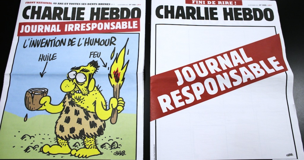 A picture taken on September 25, 2012 in Paris shows two editions of French satirical weekly Charlie Hebdo, one reading 'Irresponsible newspaper' (L) and the other, bearing an empty front page reading 'responsible newspaper.' These two editions were released one week after the magazine published an edition containing several cartoons which featured caricatures of the Prophet Muhammad.</p>