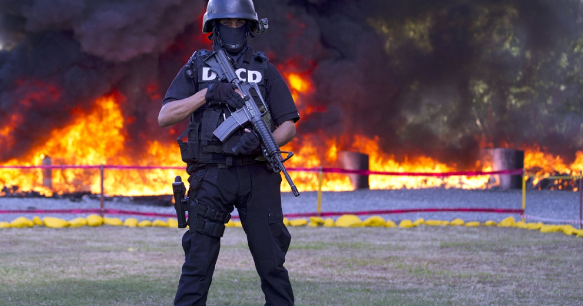 An agent of the the Dominican National Directorate for Drug Control (DNCD) stands guard as seized drugs are burned in the background in Pedro Brand, Dominican Republic, on Dec. 20, 2012. Some 3.2 tons of drugs — mainly cocaine, heroin and marijuana — were set ablaze, from 10 tons that were seized.</p>