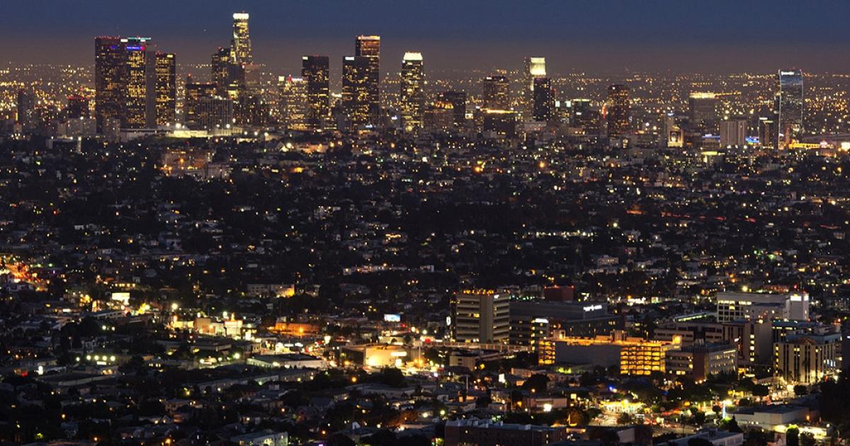 The Los Angeles skylineduring twilight, Aug. 21, 2013.</p>