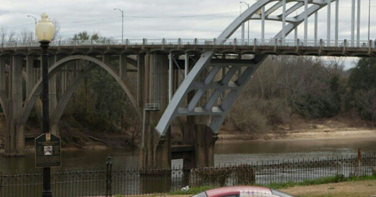 The Edmund Pettus Bridge in Selma, Alabama. This steel bridge over the Alabama River is where peaceful protestors were brutally beaten with billy clubs and choked with tear gas in 1965, bringing widespread attention to the Civil Rights Movement.</p>