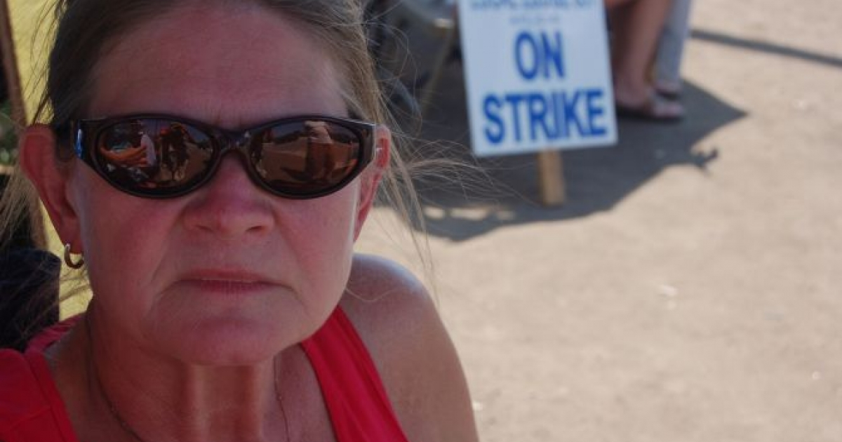 One of 780 striking workers outside the Caterpillar plan in Joliet, Illinois on August 1. The strike began on May 1 and ended August 17 after workers voted to accept a deal.</p>