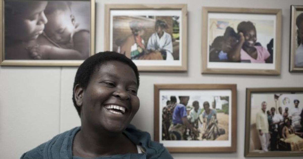 Nozi Samela at the offices of mothers2mothers in Cape Town, South Africa.</p>