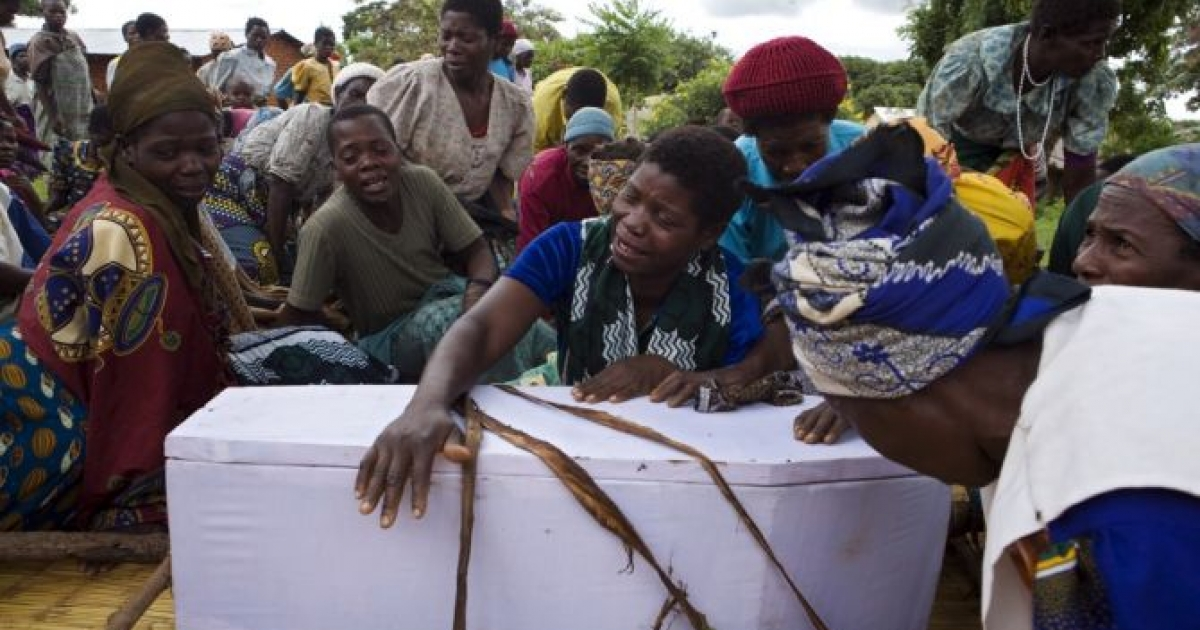 The funeral of Gift, 3, who died of malaria in Malawi.</p>