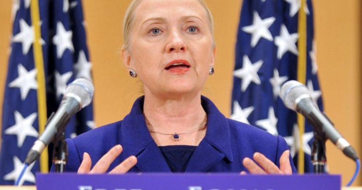 US Secretary of State Hillary Clinton addresses the assembly during a speech entitled 'Free and Equal in Dignity and Rights' at the United Nations in Geneva on December 6, 2011, ahead of the International Human Rights Day. Clinton urged an end to discrimination worldwide against lesbians, gays, bisexuals and transgender individuals (LGBT). </p>