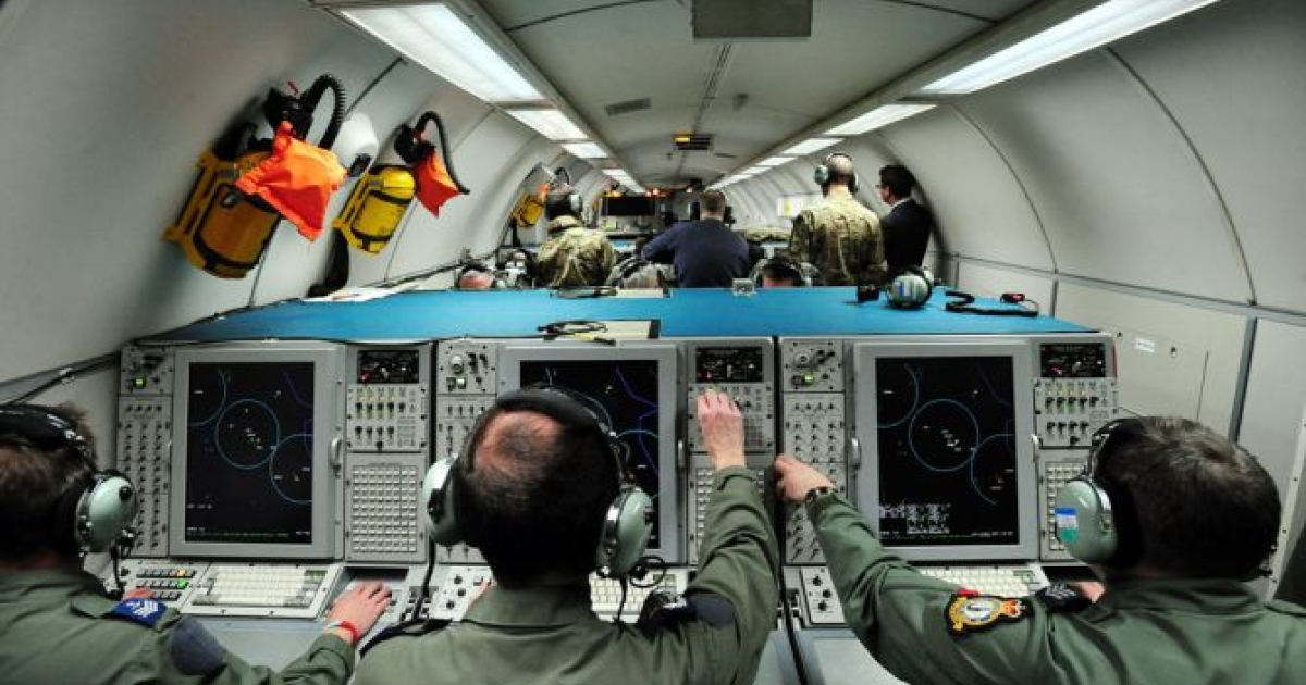 A general view shows crewmen working aboard a E-3D Sentry aircraft during an Olympic training exercise codenamed Exercise Taurus Mountain 2 at RAF Waddington, near Lincoln, England on February 29, 2012. </p>