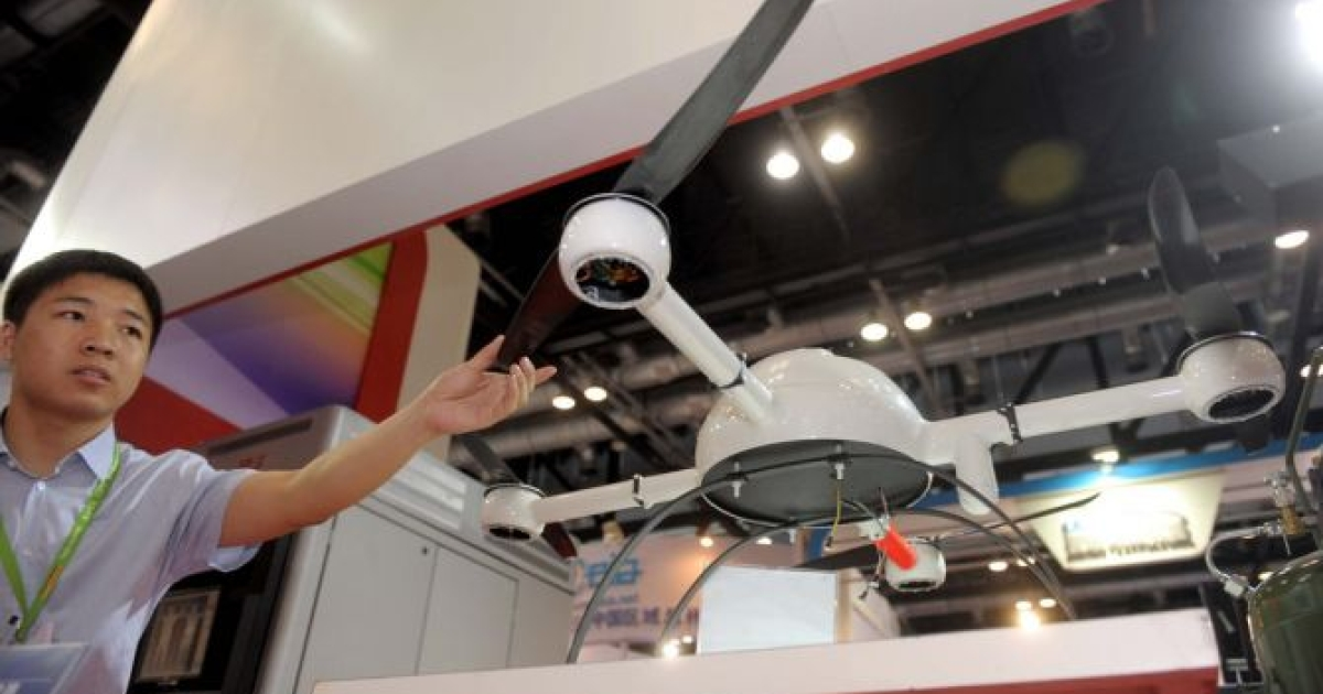 A surveillance drone is displayed during the China International Exhibition on Police Equipment 2012 in Beijing. China will spend 111.6 billion USD on its police forces in 2012, the government said as it focuses on quelling rising social unrest ahead of a once-a-decade leadership change.</p>