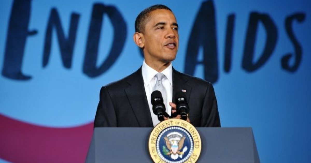 US President Barack Obama speaks at a World AIDS Day event December 1, 2011 at George Washington University in Washington, DC. </p>