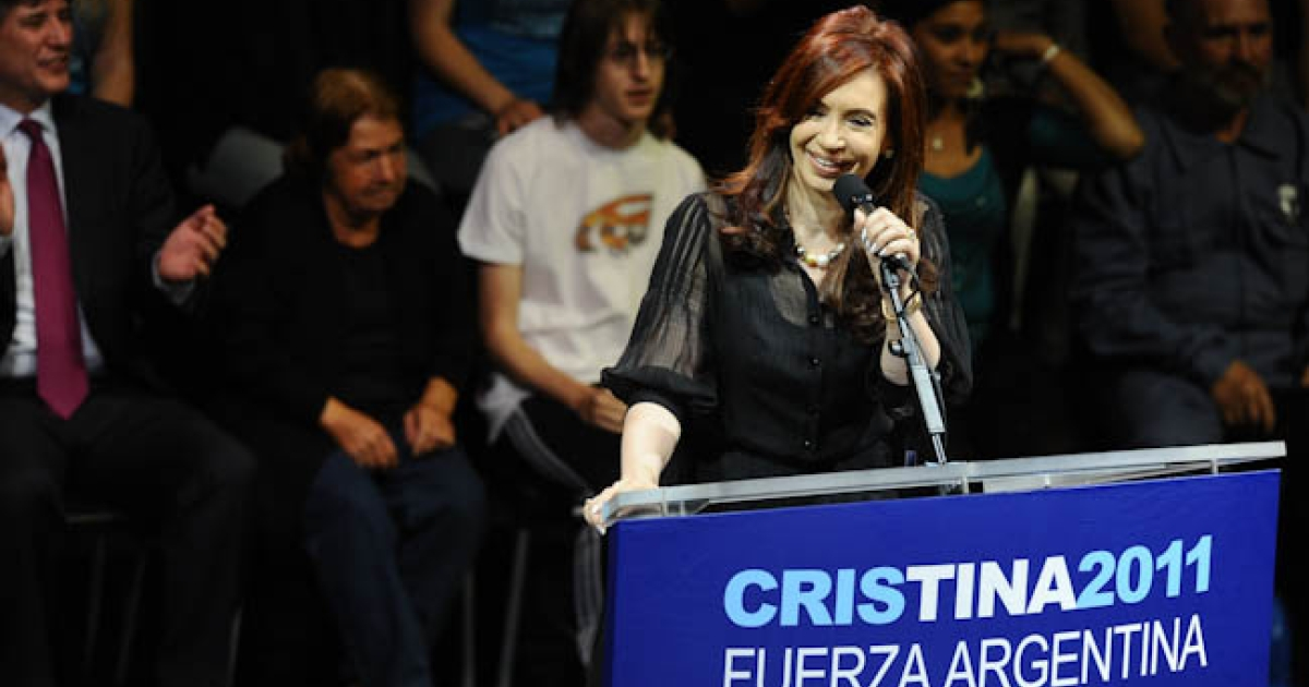 Argentine President Cristina Kirchner speaks to supporters during a campaign rally in Buenos Aires on Oct. 19, 2011.</p>