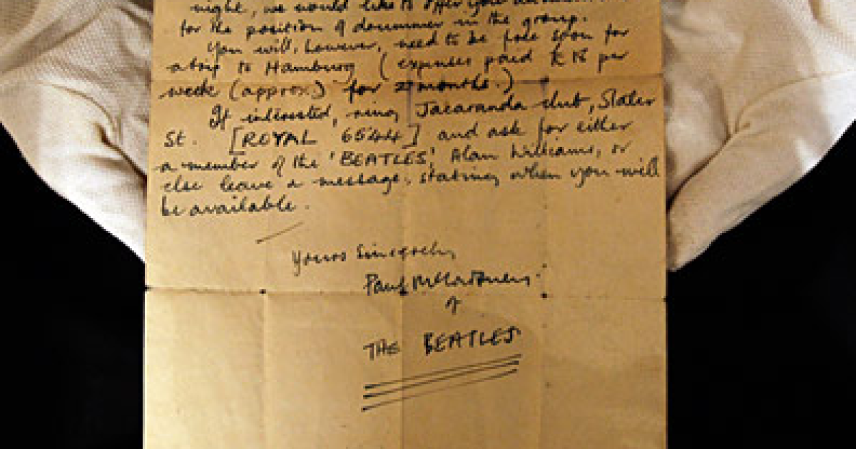 A signed letter from Paul McCartney asking an unknown drummer to audition for the Beatles in 1960.</p>