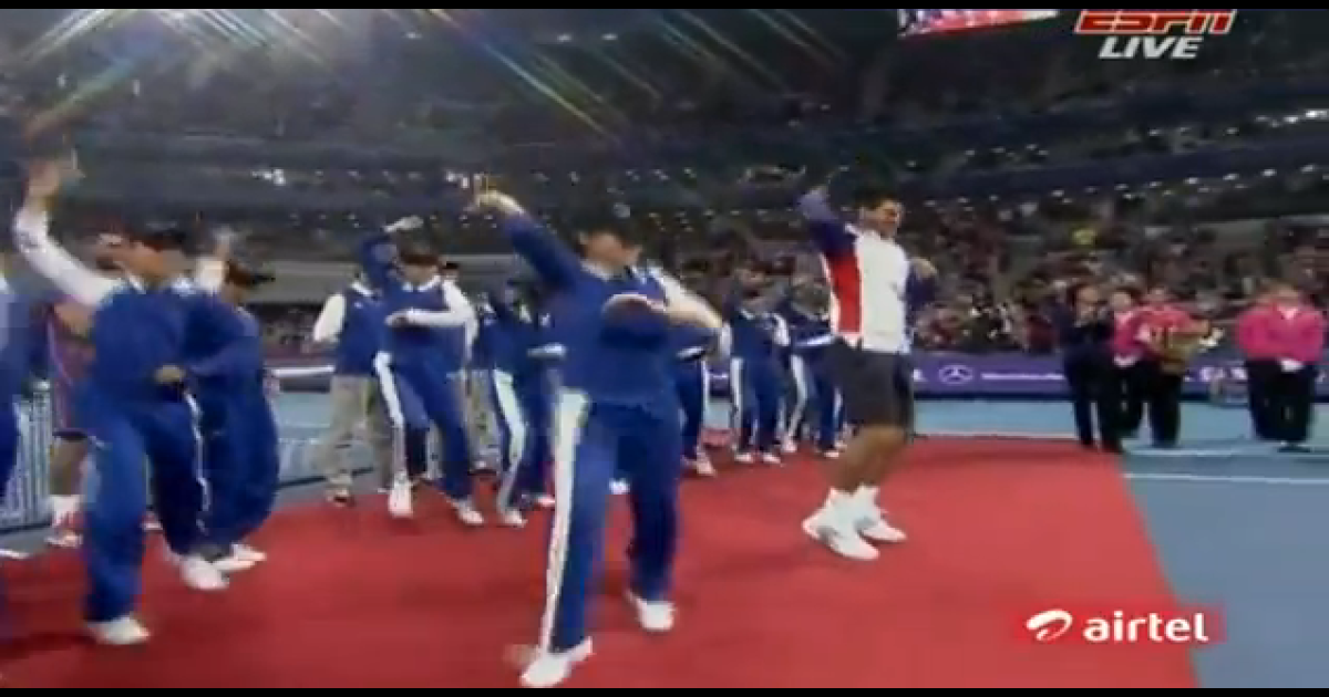 Novak Djokovic brings some Gangnam Style to the China Open.</p>
