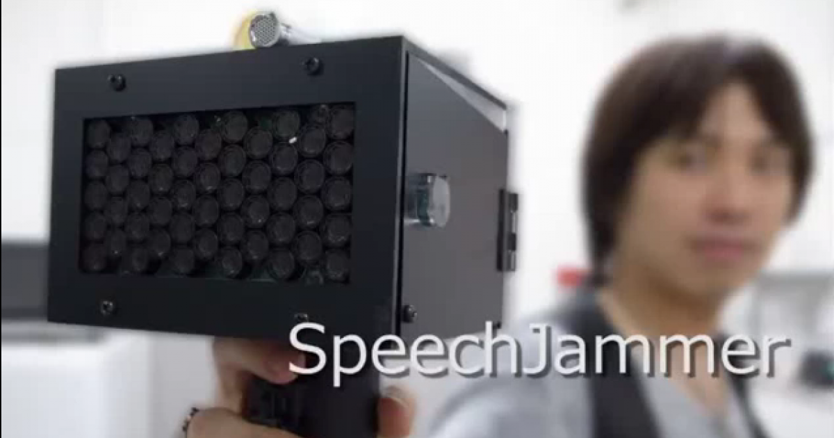 The SpeechJammer gun, as shown in an online demonstration video.</p>