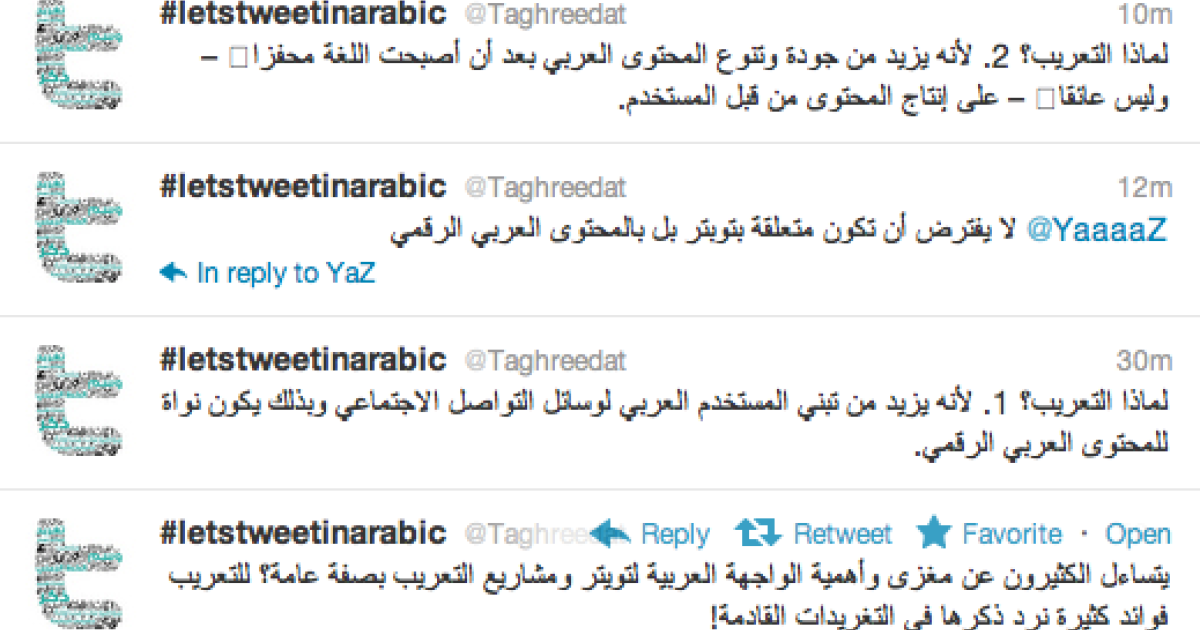 Twitter launched its Arabic, Farsi, Hebrew and Urdu versions on March 6, 2012.</p>