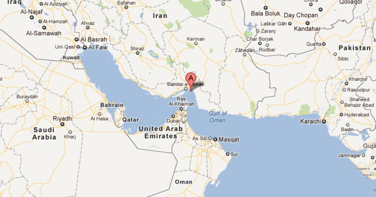 This screengrab shows the Strait of Hormuz. (Google Maps)</p>
