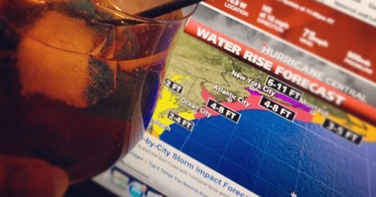 Hunkering down and drunkering up!! With @jsmallidge #sandy #hurricane #instacane #frankenstorm #bringit via Instagram user MJrudman.</p>